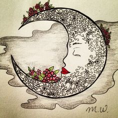 Drawing of Moon & flowers art