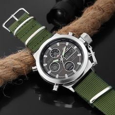 Fashion Brand Men Sports Watches with Nylon Strap Digital Analog Watch Army Military Waterproof Male LED Clock Relogio Masculino Army Watches, Sport Watches, Cool Watches, Rolex Watches, Style Brut, Digital Wrist Watch, Fashion Brand, Mens Fashion, Skagen