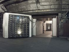 """1966- NORAD- Blast Doors.  buried deep within the solid granite of Cheyenne Mountain near Colrado Springs. NORAD stands for """"North American Radar Air Defense"""". It served as the nerve center for all of the early warning systems that watched the skies for incoming bombers or missles during the Cold War."""