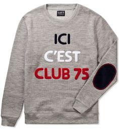Club_75_Sweater_3_1 Pullover Sweaters, Men Sweater, Three Friends, Hypebeast, Gears, Screen Printing, Heather Grey, Streetwear, Club