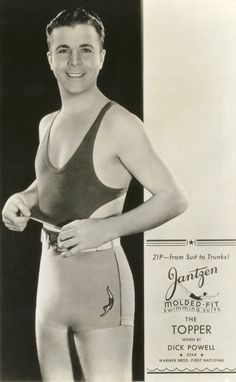 In actor Dick Powell models a suit Jantzen called The Topper because men could remove the suit's top by undoing a zipper above the waist. Going topless, even for men, was still considered racy in some places. Men's Swimsuits, Vintage Swimsuits, Men's Swimwear, Vintage Advertisements, Vintage Ads, Retro Ads, Celebrity Advertising, Advertising Archives, Fashion Advertising