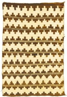 antiques price guide, antiques priceguide, native american, Arizona, Navajo [Native American Indian weaving or] rug, softly woven in handspun wool, in natural ivory and brown, with a basket pattern [banded stepped zigzags design]. [Prices4Antiques.com]