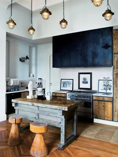 indigo cabinet in vintage industrial kitchen