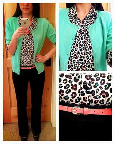 #1: BLACK PANTS - mixed with a fun printed t-shirt & cardigan sweater (2 other wardrobe essentials!) this look is work-appropriate and expresses her fun personal style
