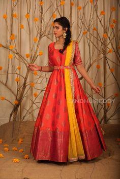 Stunning red color floor length benarasi ananrkali dress with yellow color net dupatta. Ananrkali dress with waist belt design. Lehenga Designs, Kurta Designs, Half Saree Designs, Saree Blouse Designs, Indian Gowns Dresses, Indian Fashion Dresses, Dress Indian Style, Indian Designer Outfits, Long Gown Dress