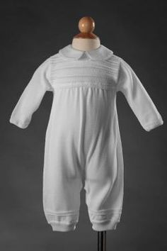 Boys White Knit Coverall Christening Outfit CKNIT1