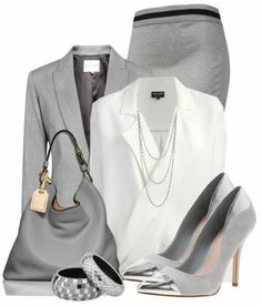 elegantes klassisches Business Outfit in Grau