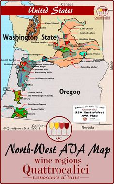 Map of the most important Oregon and Washington AVA's. History Of Wine, Wine Tasting Events, Different Wines, Wine Education, Alcohol Content, Wine Guide, Types Of Wine, Sweet Wine, Port Wine