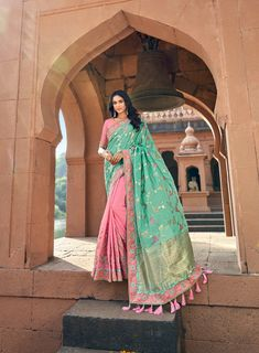 Silk designer embroidered party wear sarees with designer blouse material– Chinpack Saree Models, Indian Sarees Online, Latest Designer Sarees, Net Saree, Casual Saree, Party Wear Sarees, Indian Ethnic Wear, Long Blouse, Pink Silk