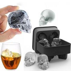 "Chill your beverages to the bone and terrify your guests! Perfect for Halloween, each 3D Skull Ice Mold creates 4 large 1.57"" (4cm) ice cubes, candies, bath bombs, candles and more!"