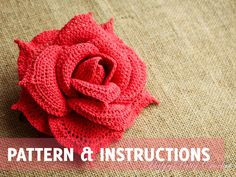 Crochet Rose Pattern and Instructions - INSTANT DOWNLOAD - P072 // from HappyPattyCrochet on Etsy #crochetflowers #crochet