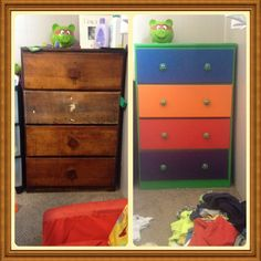 Upcycled this old dresser into a teenage mutant ninja turtles dresser for my sons