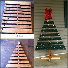 Outdoor christmas tree made from a pallet! Wonderful idea