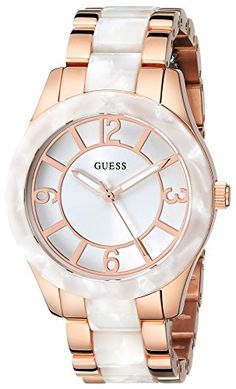 GUESS Women's\ Stainless Steel Rose Gold-Tone & White Marbellized Watch. I WANT THIS!