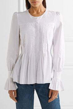 White cotton-poplin Partially concealed button fastenings through front 100% cotton Hand wash Imported