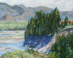 river landscape original oil painting canvas impressionism snake river tetons pine trees spring fine art 16 x 20. $229.00, via Etsy.
