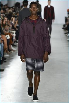 Oliver Spencer goes for a sporty element, juxtaposing multiple patterns and embracing the windbreaker.