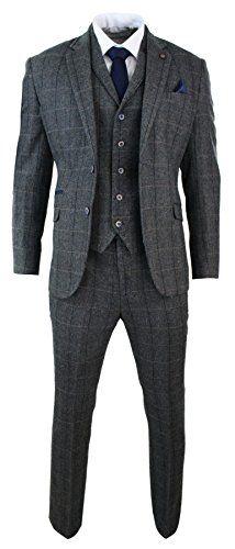 d7004ffd8818d7 New Cavani Mens 3 Piece Classic Tweed Herringbone Check Grey Navy Slim Fit  Vintage Suit Charcoal