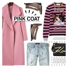 """PINK COATS"" by tiziana-melera ❤ liked on Polyvore featuring Hollister Co., Gucci, Karl Lagerfeld, Dune Black, Old Navy, contestentry and pinkcoats"
