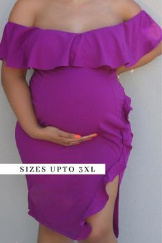 Plus size purple maternity Dress . This purple off-the-shoulder maternity dress is a winner for a baby gender reveal party, a pregnant guest outfit or fly maternity shoot. Shop Plus-Size Maternity Fashion at CBC Plus Size Maternity Dresses, Fitted Maternity Dress, Maternity Wear, Maternity Fashion, Plus Size Dresses, Maternity Occasion Wear, Gender Reveal Outfit, Magenta, Purple