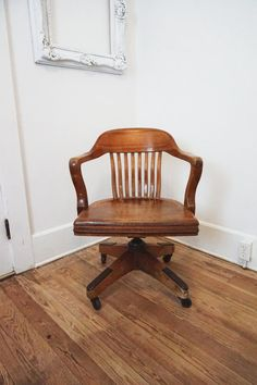 price reduced antique wooden swivel bankers desk chair vintage office wood furniture