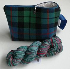 Knitting Bag, Medium Sock Project Bag, Crochet Project Bag, Tartan Bag, Gift for Mum, Unisex Project Bag, Yarn Storage, Zipped Pouch