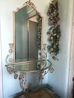 FRENCH IRON MIRROR AND TABLE