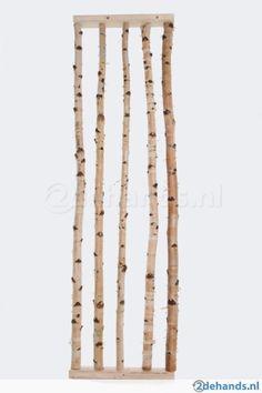 Afscheidingswand, decoratie, hout, berkenstammen, kapstok
