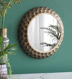 Buy Metal Round Wall Mirror In Brown Colour By Orange Tree Online Round Mirrors Wall Accents Home Decor Pepperfry Product Round Wall Mirror Mirror Wall Frames On Wall