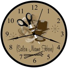Beauty Shop, Beauty Salon, Hair Stylist Or Hairdresser Brown Personalized Business Shop 9 Inch Wall Decor Clock. Diy Room Decor, Wall Decor, Hair Stylist Gifts, Salon Names, Clock Decor, Luxury Home Decor, Beauty Shop, Vintage Beauty, Hairdresser