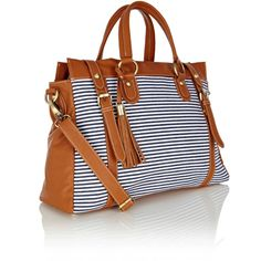 OASIS Stripe Tote Bag ($47) found on Polyvore
