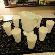 Rare Antique Milk Glass Pitcher and 8 Glass Set, 1960's Or Older, MINT! #Unknown
