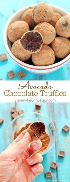 An unbelievably smooth, creamy and decadent truffle chocolates recipe made with...wait for it... AVOCADO! Only 94 calories per truffle! These are so ridiculously good and a must-make healthy treat for Valentine's Day!