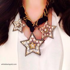Under the moon and the {Lanvin} stars. Saturday night with a Lanvin statement necklace.