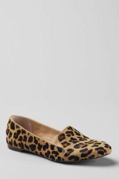 lands' end - vivian calf hair venetian flats in leopard