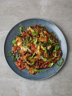 Aubergine parmigiana with crispy breadcrumbs - Jamie Oliver Tasty Vegetarian Recipes, Vegetable Recipes, Vegetable Bake, Curry Recipes, Healthy Recipes, Cooking Tips, Cooking Recipes, Bread Recipes, Ratatouille Recipe
