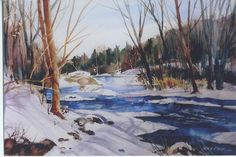 """This painting is sent to us from our customer, Bill Davis from Wisconsin. This watercolor he painted is 15"""" x 22"""" and it is rightfully titled """"Frigid Morning"""". And since he is from Wisconsin, I am sure Bill is familiar with the term """"frigid morning"""". Bill - thanks for sharing your work with us! #watercolorpainting #artwork"""