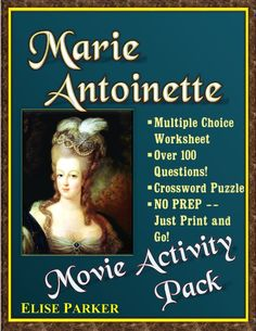 "Bring the French Revolution to Life with this Detailed Movie Worksheet plus Puzzle Page to accompany the 2006 Feature Film, ""Marie Antoinette!""  --117 Multiple Choice Questions, all in movie order --Full Answer Key Included --No Prep -- Just Print and Go! --Multiple Choice means fast correcting too! --Crossword Puzzle Review page makes for a fun recap of the movie, or can double as formal assessment quiz! #marieantoinette #teachwithmovies #frenchrevolution"