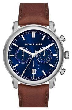 fa1a5f6d793 MICHAEL Michael Kors Michael Kors  Pennant  Chronograph Leather Strap  Watch
