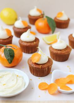These fine-crumbed Orange and Carrot Cupcakes are filled with good-for-you ingredients and topped with a citrus fruit-infused creamy cream cheese frosting.