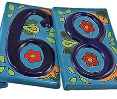 Liven up the exterior of your home with these eye catching Talavera address numbers. Each Talavera address number is hand-painted in Dolores Hidalgo, Mexico, and embodies all the classic charm of Mexican Talavera.