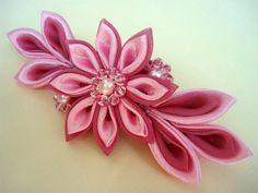 Satin Kanzashi Flower Barrette Pink Fabric Flowers by Ivanna, $29.00