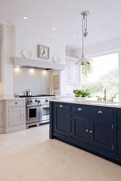 Blue Painted Kitchen - Bespoke Kitchens - Tom Howley Luxury blue painted kitchen with feature island with full length pantry with personalised engraving and concealed storage. Luxury Kitchen Design, Best Kitchen Designs, Luxury Kitchens, Interior Design Kitchen, Home Design, Home Kitchens, Bespoke Kitchens, Tuscan Kitchens, Dream Kitchens