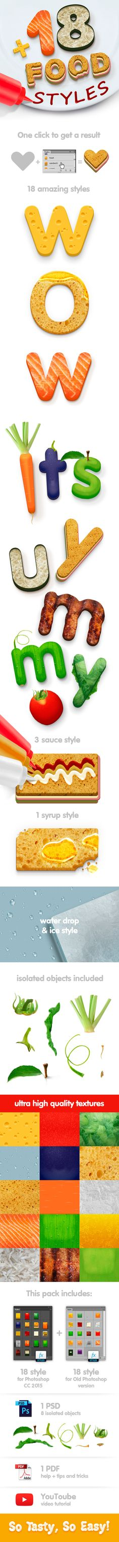 18 Food Styles by Lil_Bro Follow me 18 new styles of food for Photoshop CC 2015 and older versions. They are very easy to use �20just a single click! Packag