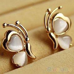 Bluelans Encanto 1 Par Moda Mariposa Blanca del Ojo de Gato de Piedra del Ópalo Plateado Oro Del Oído Del Perno Prisionero