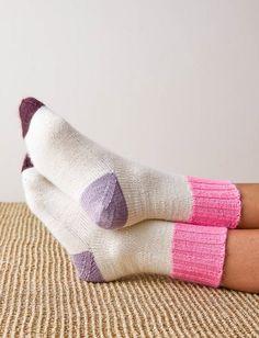 Ravelry: Easy Heel Colorblock Socks pattern by Purl Soho Knitting Socks, Free Knitting, Baby Knitting, Knit Socks, Women's Socks, Easy Knitting Patterns, Knitting Projects, Knitted Socks Free Pattern, Crochet Patterns