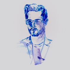 Portrait made in watercolor in blue hues. A portrait that communicate men's fashion and dapper style. Fashion illustration made in watercolor by Susanne Riber. For more illustrations check out susanneriber.dk and instagram/susanneriber.