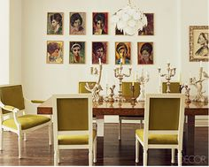 Elle Decor. Great artwork, avocado green chairs, fabulous chandy and wood table.