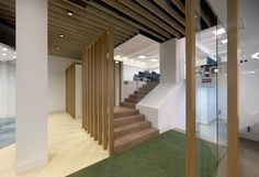 MVN Arquitectos has developed a new office space design for global insurance firm Aegon located in Madrid, Spain. From AEGON values borns a new conception Office Space Design, Home Office, Madrid, Stairs, Meeting Rooms, Home Decor, Architects, Home Offices, Ladders