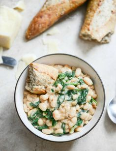 Spicy Greens and Creamy Parmesan Bean Stew | howsweeteats.com